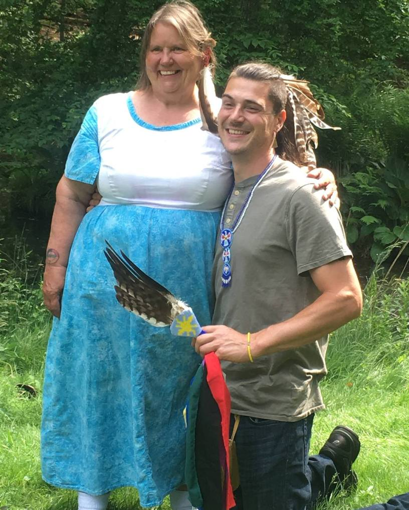 Grandmother Carol of Water is Life Walk along the Housatonic 2018 with Sachem HawkStorm at Dover Stone Church
